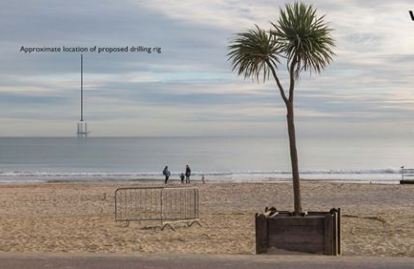 Bournemouth Beach with oil rig