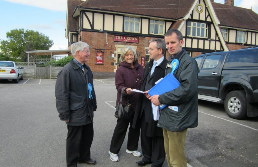 Canvassing meeting outside the Crown Pub
